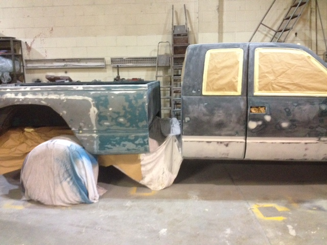 Dually tub moved back for painting