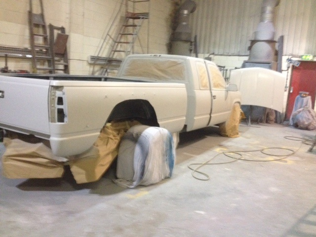 prep work for re paint GMC dually