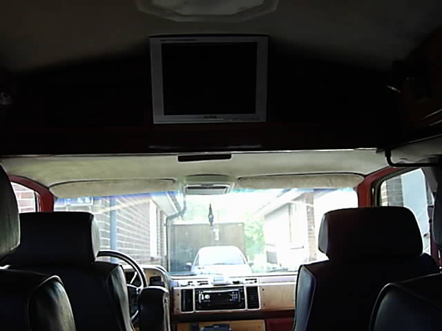 Built in TV ib back of the Chevy Van