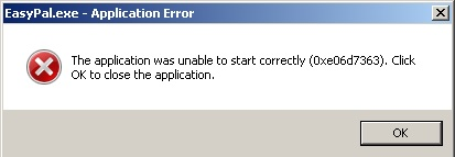 EasyPal error message