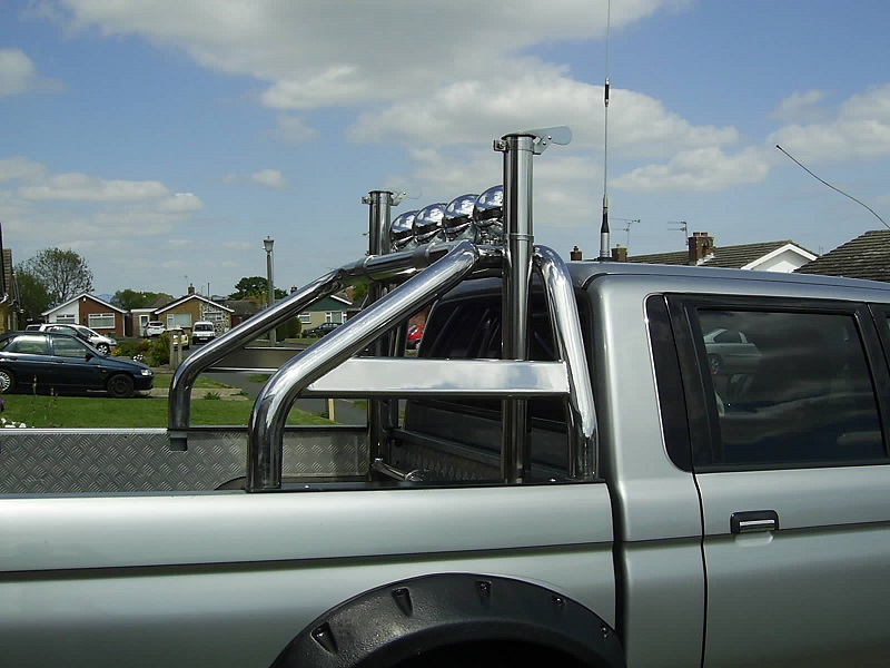 Stainless Steel exhaust stack fitted to the L200 side view